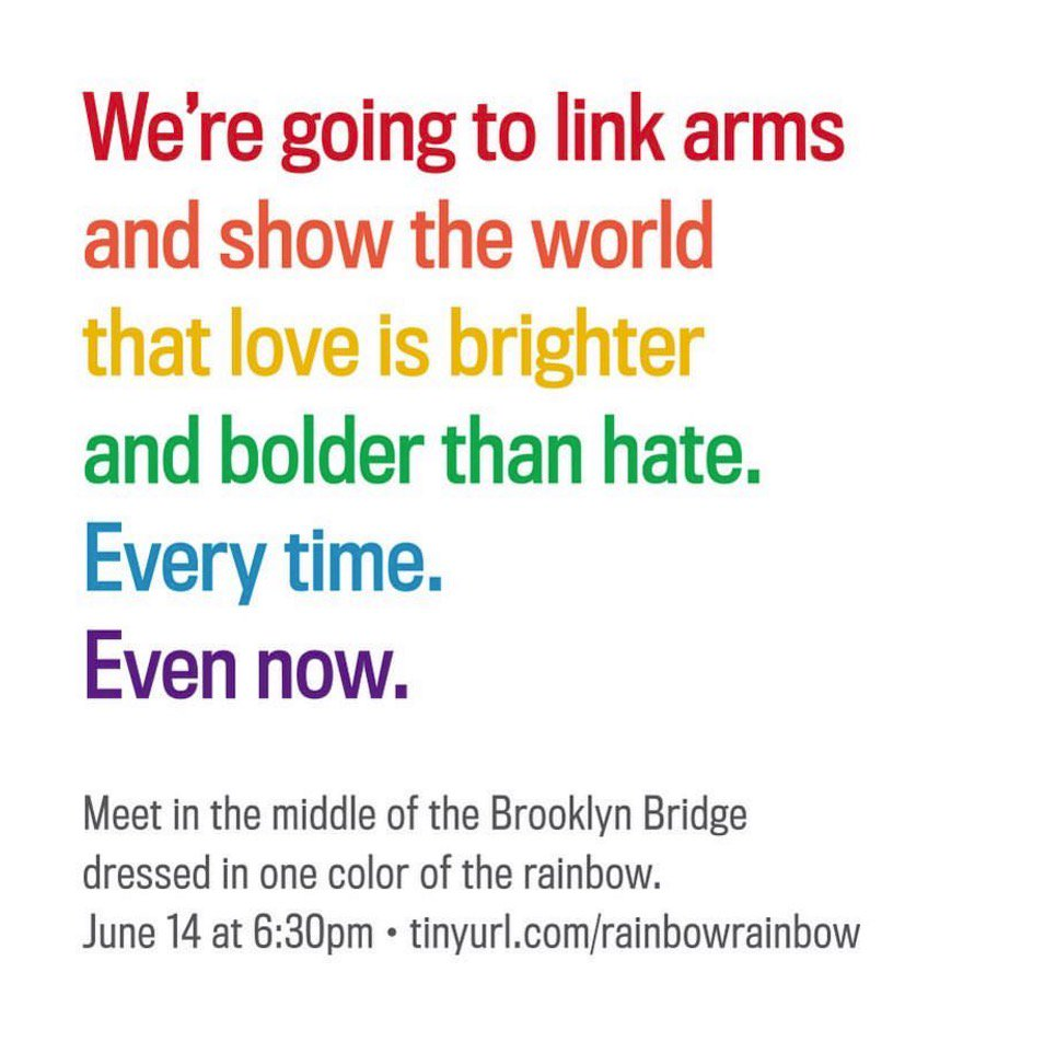 Don't forget to dress in a single rainbow color to link up for love on BK bridge with us after work