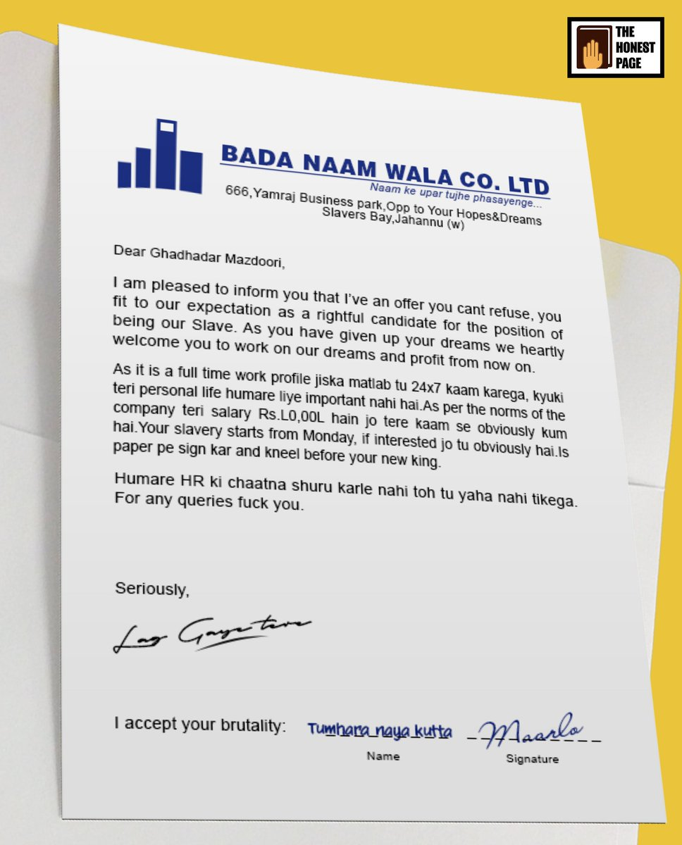 All India Bakchod On Twitter Honest Offer Letter Share