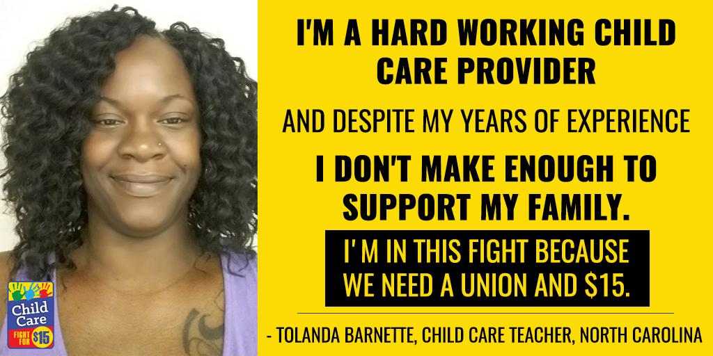 #Childcare wrkr Tolanda is at the @USWomen2016 #StateOfWomen summit advocating for #ChildCareForAll & #FightFor15 https://t.co/suByQy7GLN