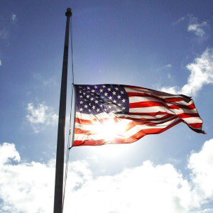 Sad reality. It's Flag Day. And we're flying her half-staff.