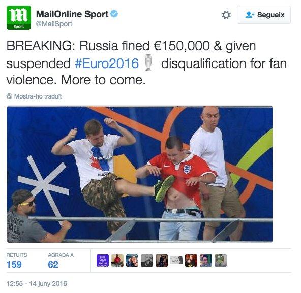 Multa per mostrar estelades: 150.000€. Multa per tirar bengales i carregar com a bojos contra els rivals: 150.000€ https://t.co/D9iuYVae2A