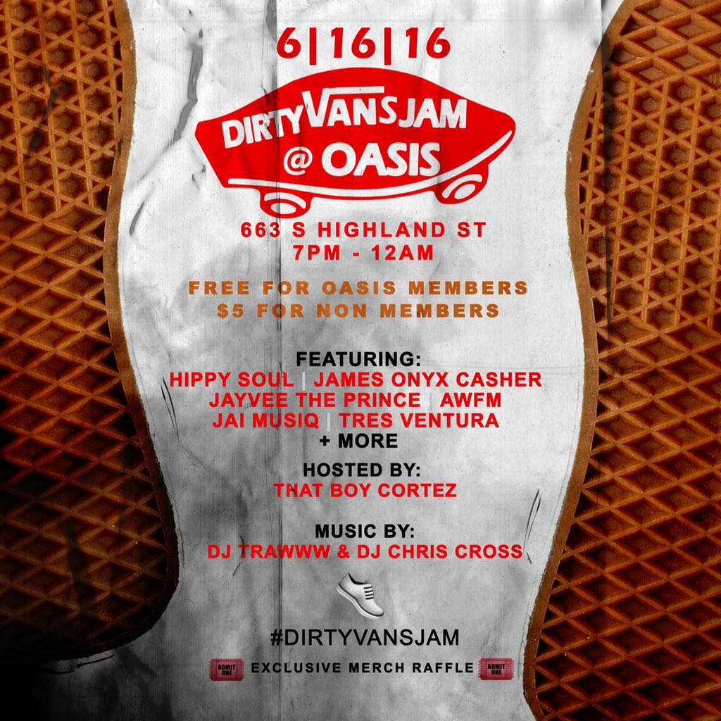 #DirtyVansJam this Thursday @ Oasis in Memphis, TN. Me & my guy @CHances_andRISk going way up! https://t.co/l2ZvqWPmNT