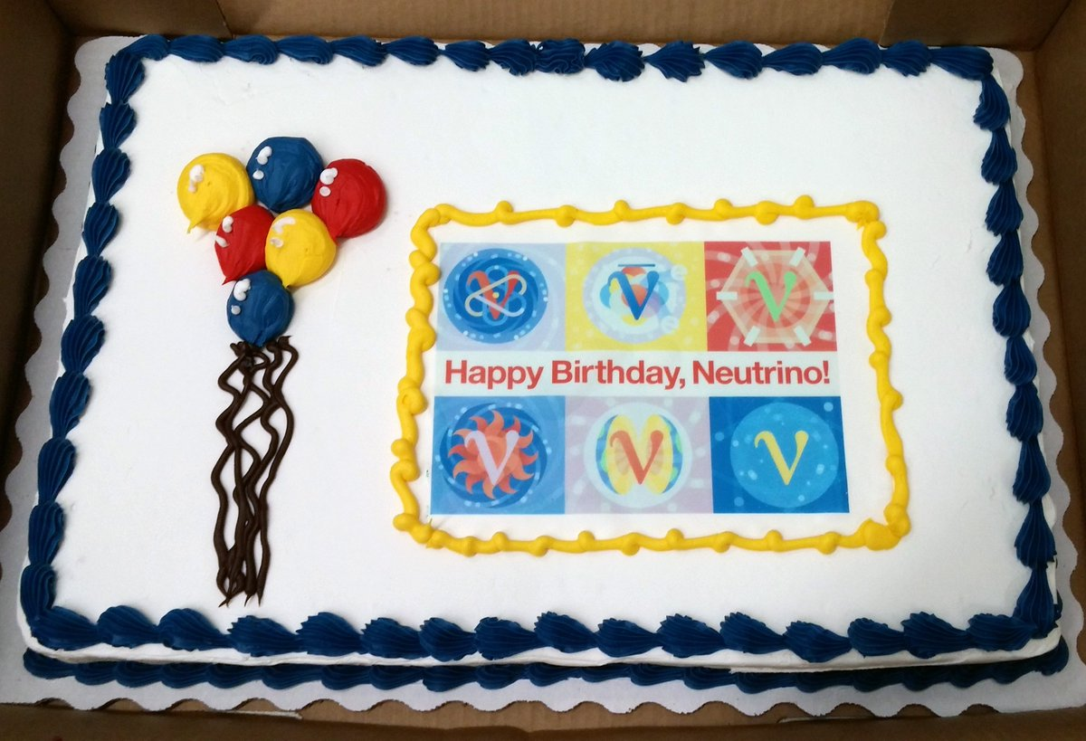 You can't have a neutrino birthday party without a neutrino birthday cake. #HappyBdayNeutrino! #60yearsold #physics https://t.co/vMe7RAcnPB