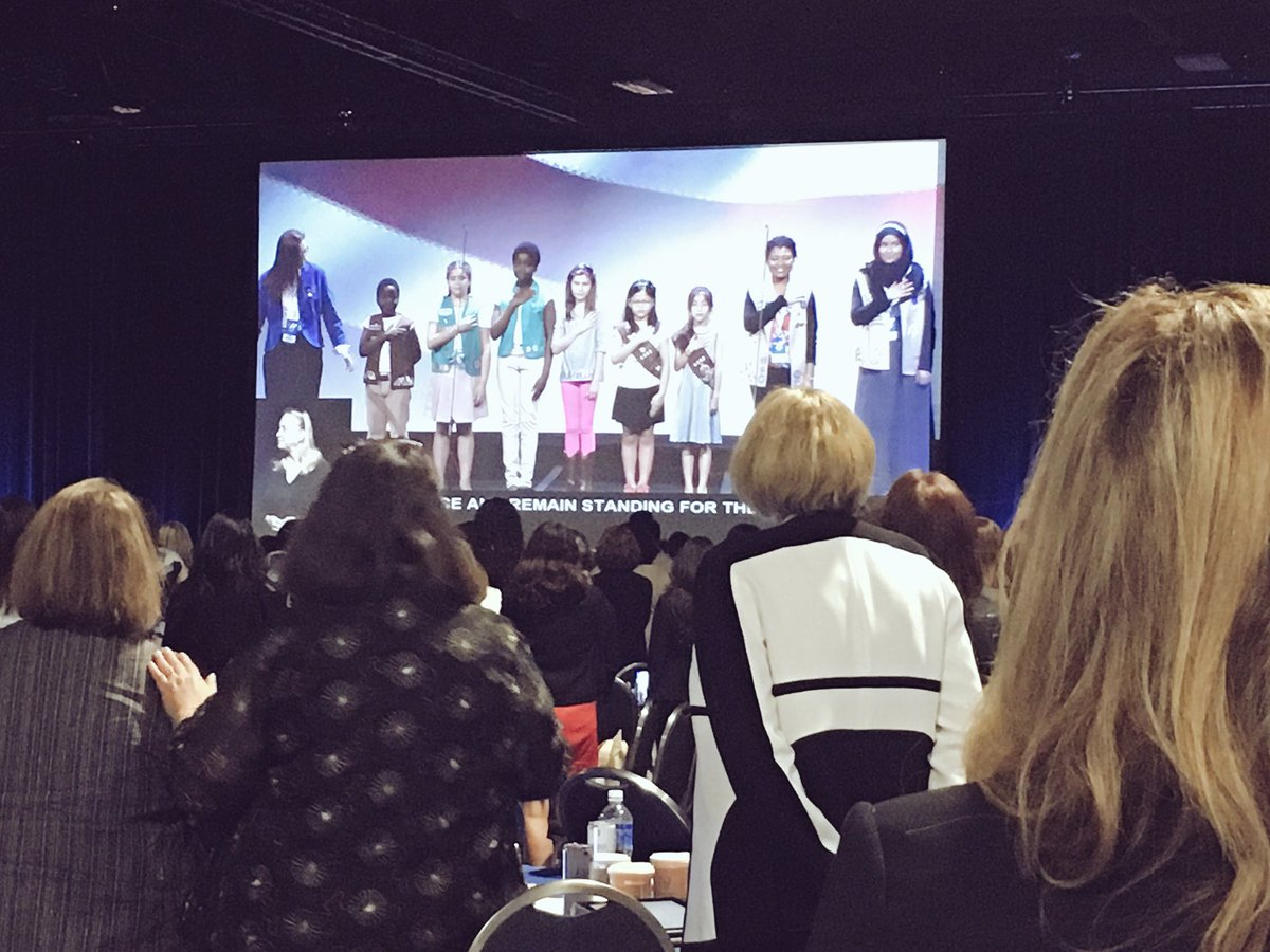 """That's our future everybody."" @girlscouts take the stage for the Pledge of Allegiance. #StateOfWomen https://t.co/Mogsci3jIi"