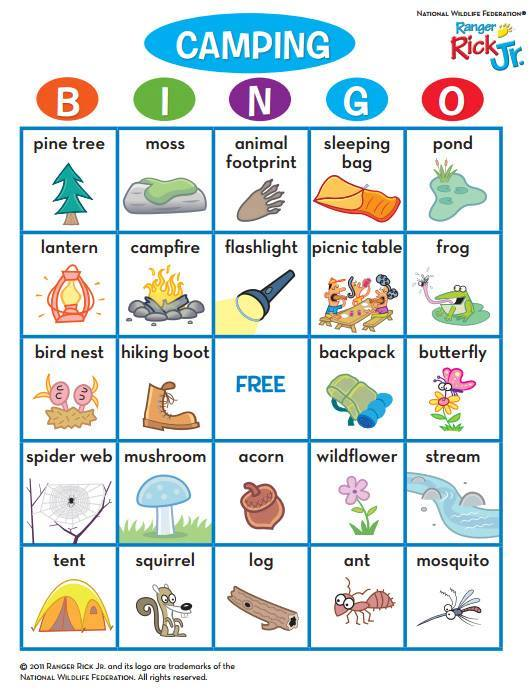 RangerRick Magazines On Twitter Play Camping Bingo During Your