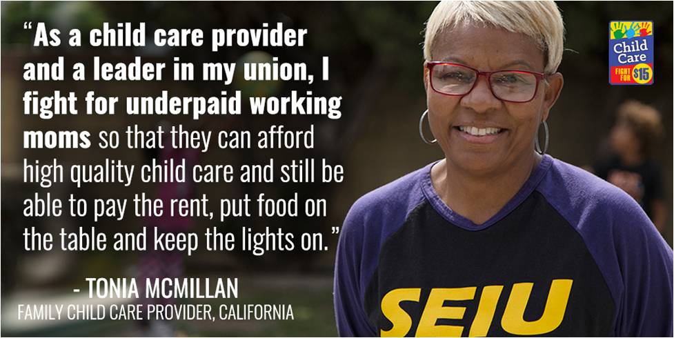 Together we #FightFor15, union rights & #ChildCareForAll! #1u #StateOfWomen @MCMILLIANT @SEIULocal99 https://t.co/asKtNV9fvG