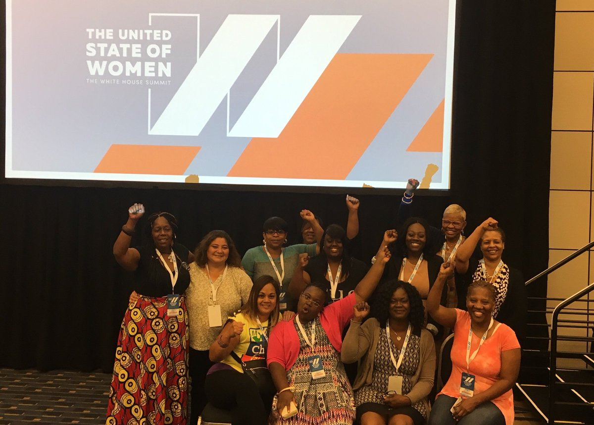 #ChildCare workers are out in FULL FORCE at @USWomen2016! #FightFor15 #ChildCareForAll #StateOfWomen https://t.co/HPtTzyvT01