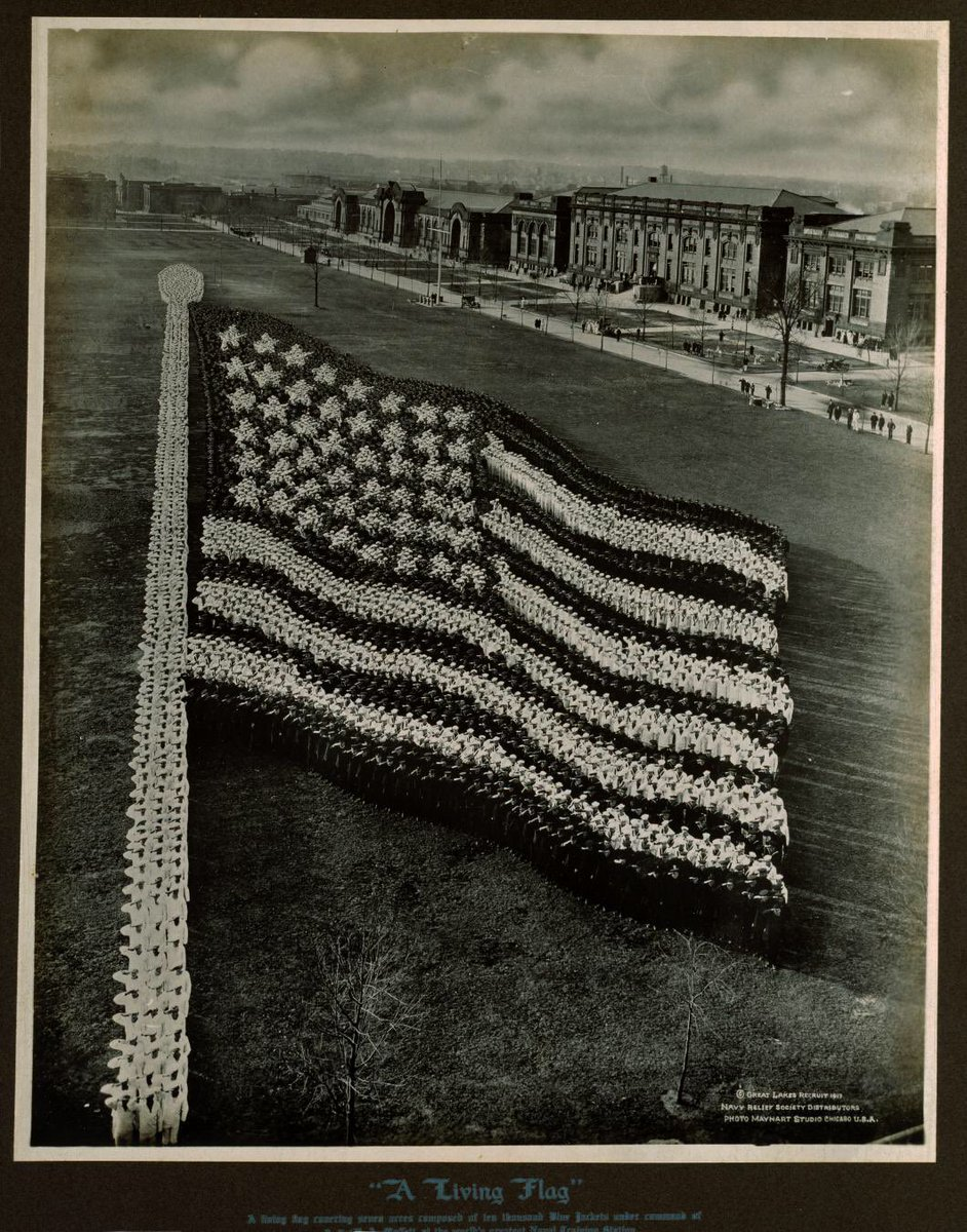 A salute to #FlagDay from the hundreds of sailors who posed for this 1917 photo