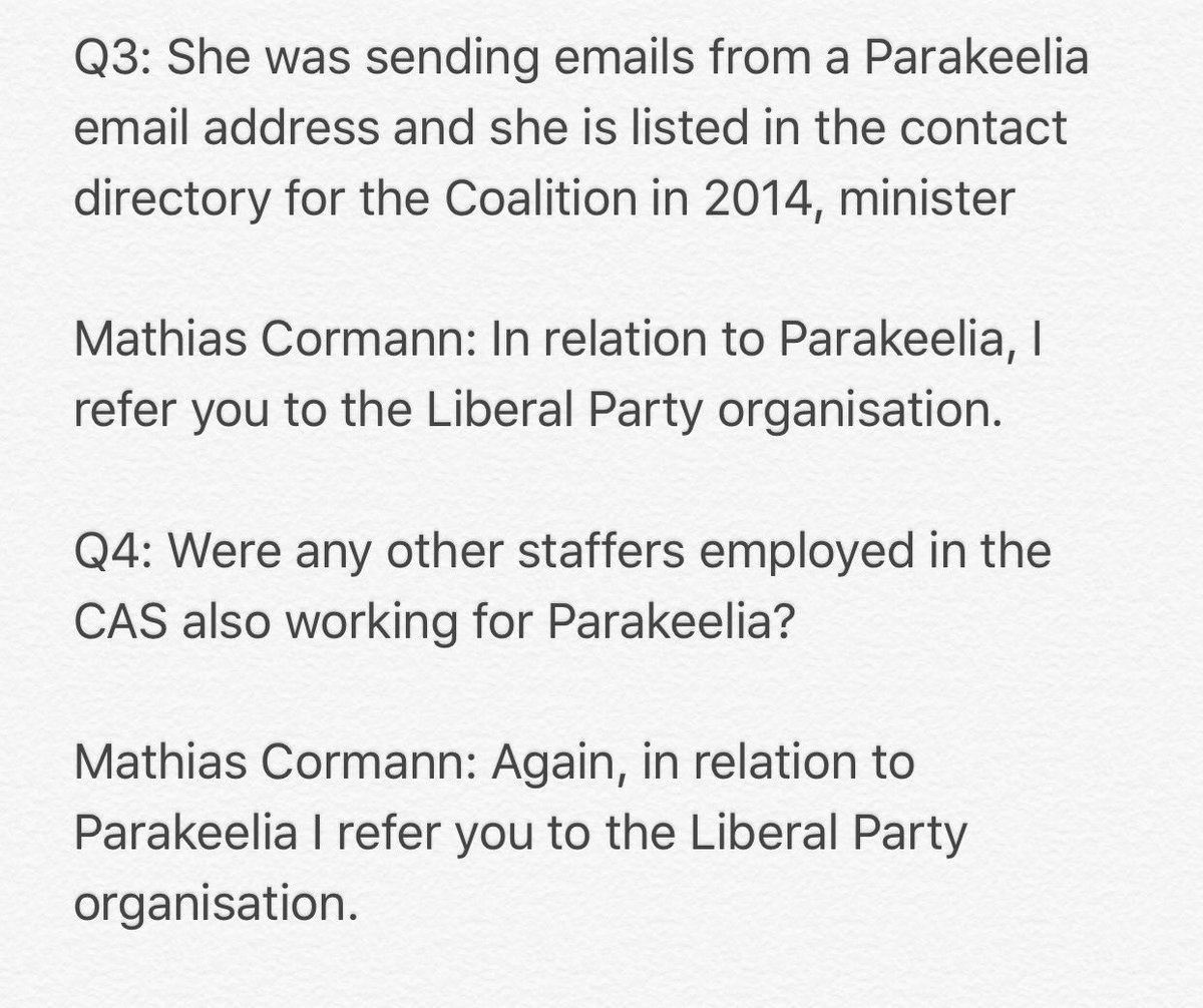 I asked Mathias Cormann 4 questions about #Parakeelia this morning. Here they are, and his responses. https://t.co/3qGwQhjp2r