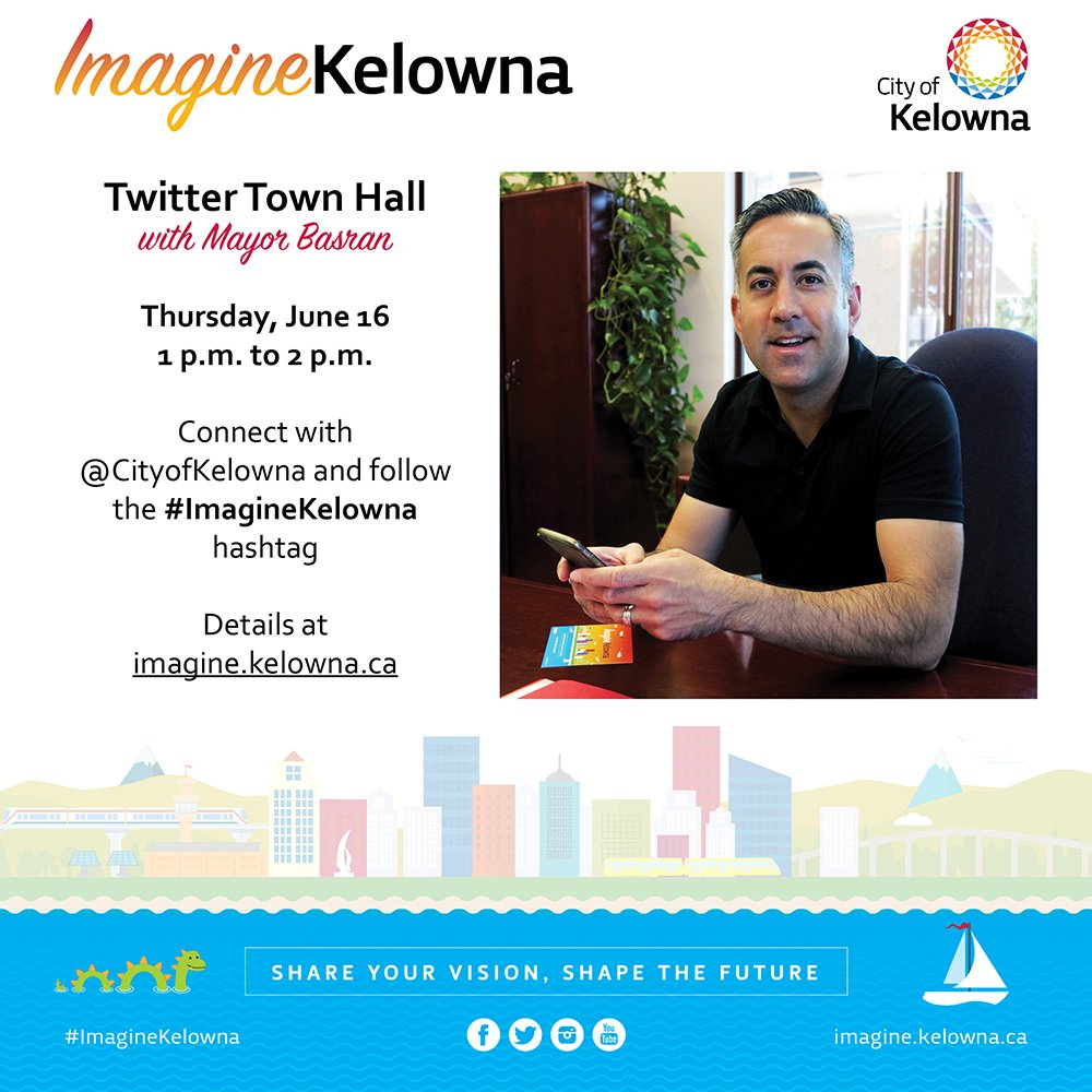 Join Mayor @Basran on Thursday to discuss the future of #Kelowna during our first Twitter Town Hall. #ImagineKelowna https://t.co/QeSWcvqyxM