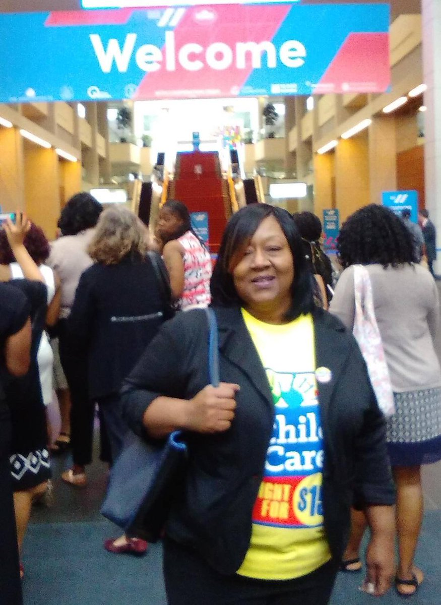 Childcare Dir Shelisa is at the @USWomen2016 #StateOfWomen summit to push for fair pay & affordable #childcareforall https://t.co/6ivzAdosMV