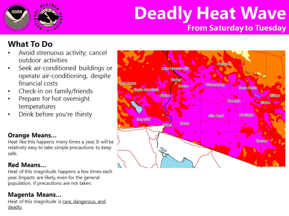 National Wx Service says heat wave is coming. The magenta means rare, dangerous and deadly. @NWSPhoenix