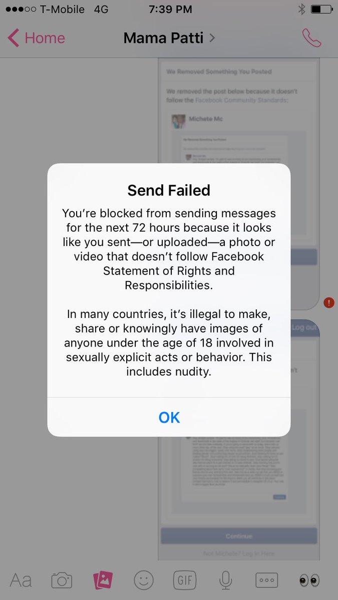 Facebook messenger send failed