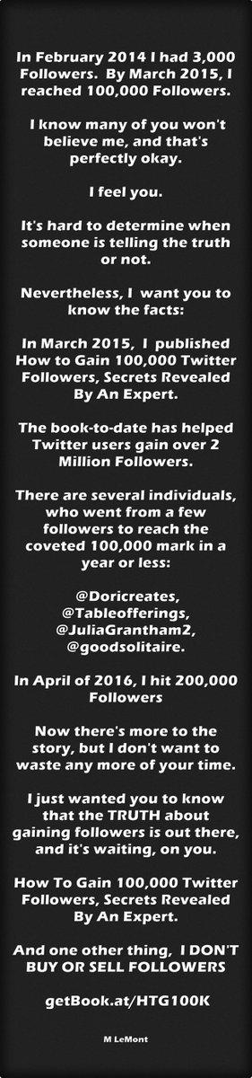 'Feb 2014, 3,000 Followers by March,2015 100,000. https://t.co/hzpxEkbK6I #Twitter #SocialMedia #SMM #AmReading