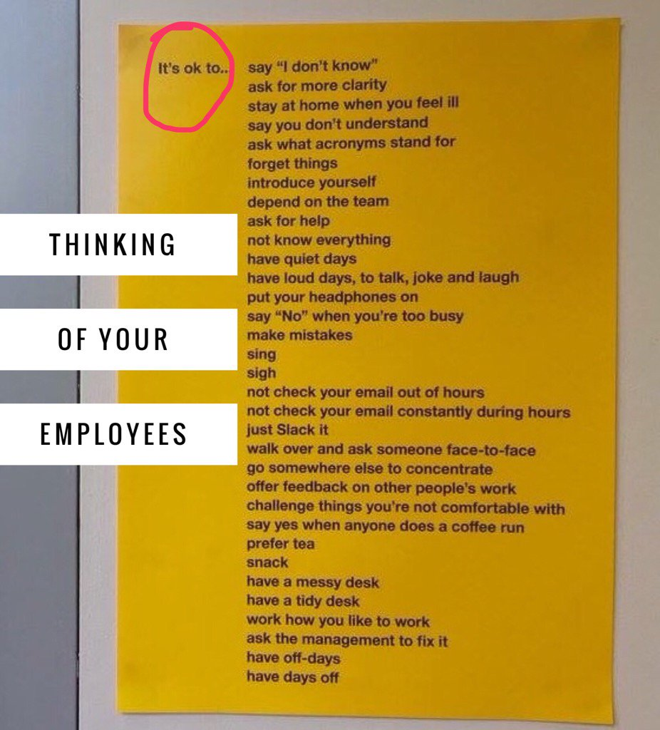 This poster is how a company started to show consideration to their employees