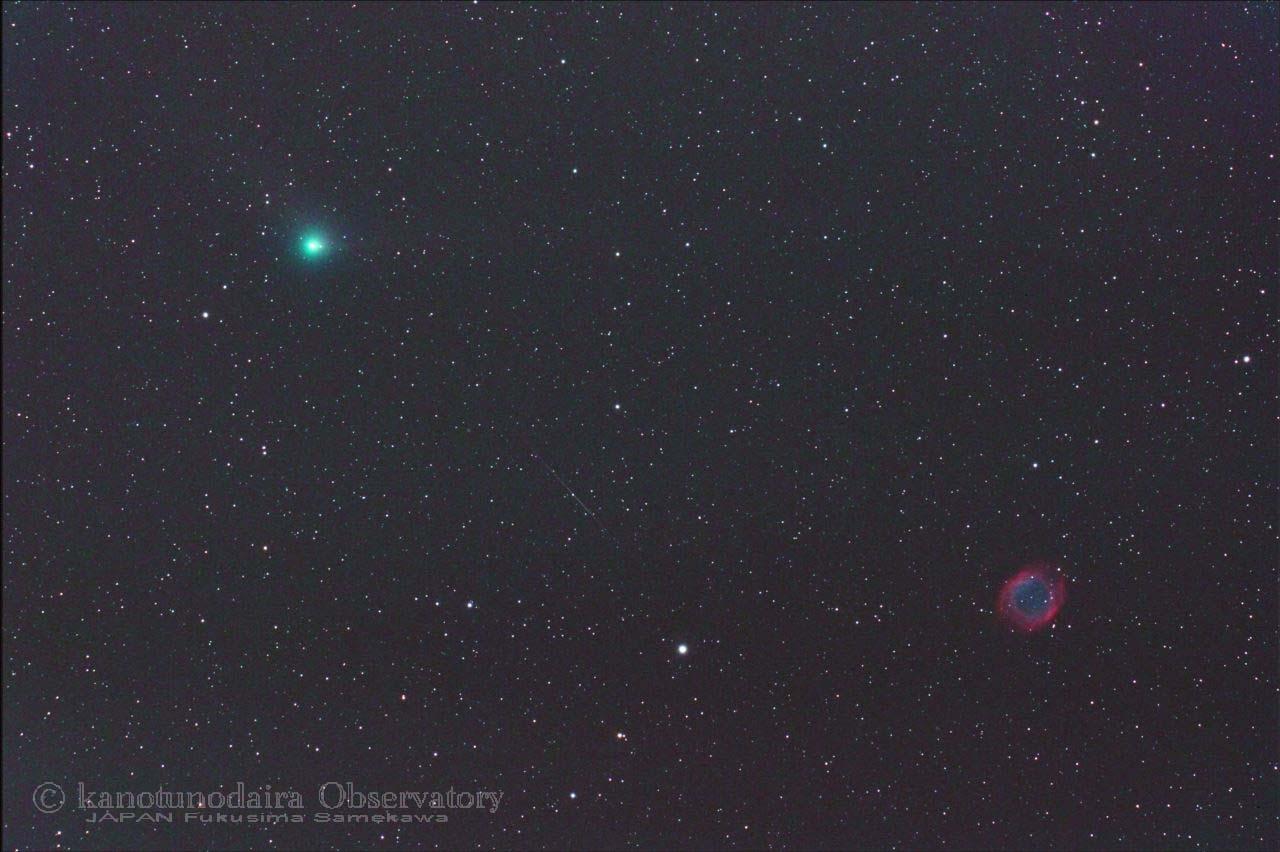 螺旋星雲(NGC 7293)に近づくパンスターズ彗星(C/2013 X1)