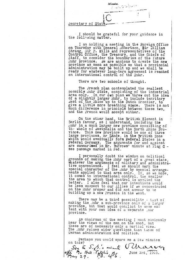 """Sir Olivers Harvey stellt seine Meinung zum """"Ruhrland"""" Ernest Bevin vor. >> https://t.co/HU4ATizxZS"""