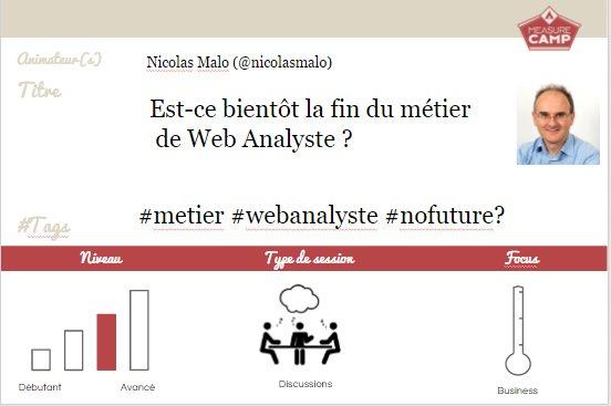 Est-ce bientôt la fin du métier de Web Analyste? A discuter demain! #measurecamp Paris https://t.co/ujrlNHpL6u #wafr https://t.co/onfdgndzAI