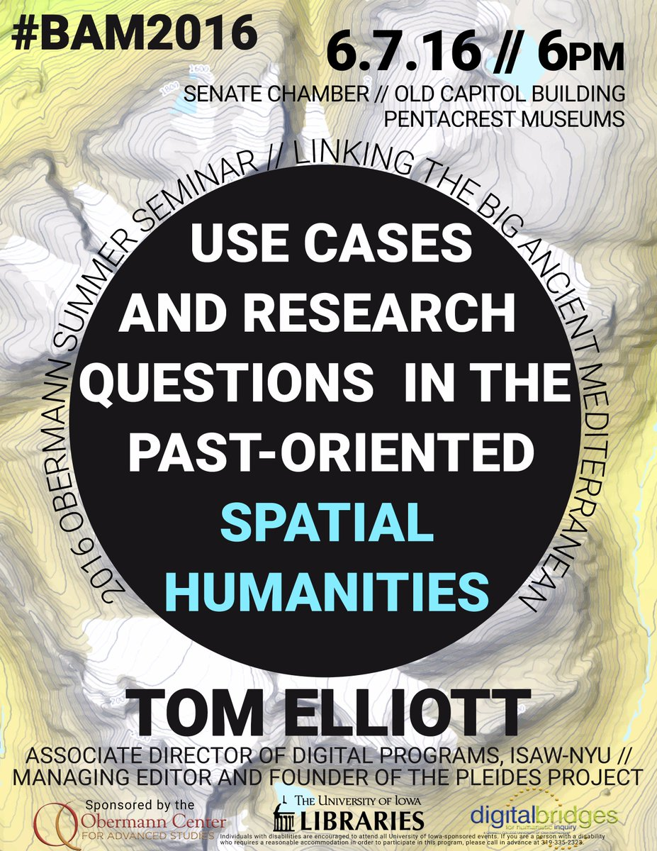 Join us for keynote w Tom Elliott of @PleiadesProject/@isawnyu on Tuesday 6/7 #BAM2016 https://t.co/OVquZ8kinS https://t.co/aHCoTfk8Rb