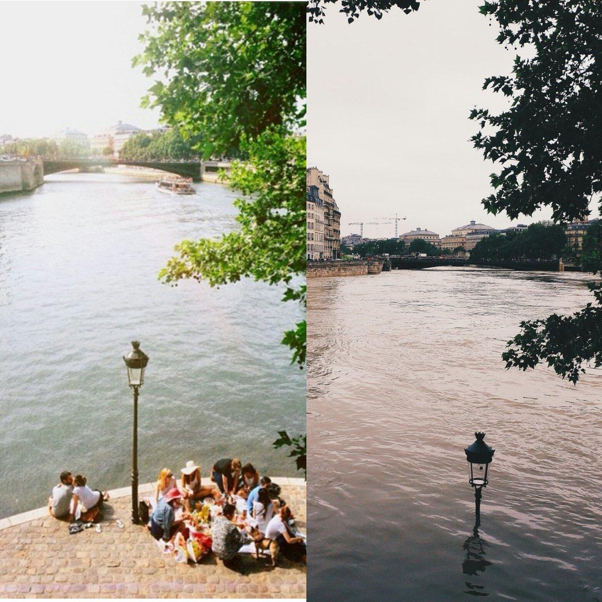 Un avant-après impressionnant de la Seine  #CrueParis  #CrueSeine https://t.co/Dbaq1a7S6O