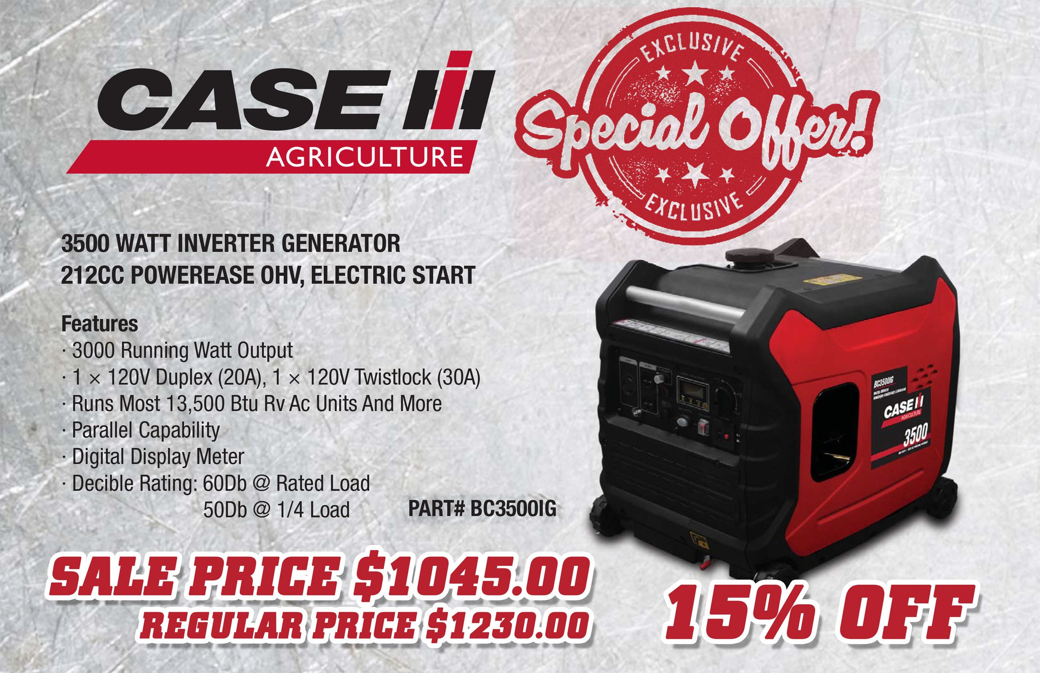 """Young s Equipment on Twitter """"Special Sale on Case IH 3500 Watt"""