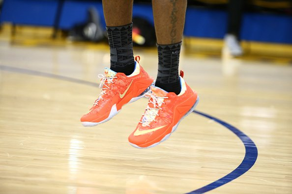 """c96fbd297f8a kingjames practiced in the nike lebron 12 low """"trainwreck"""" today  brkicks"""