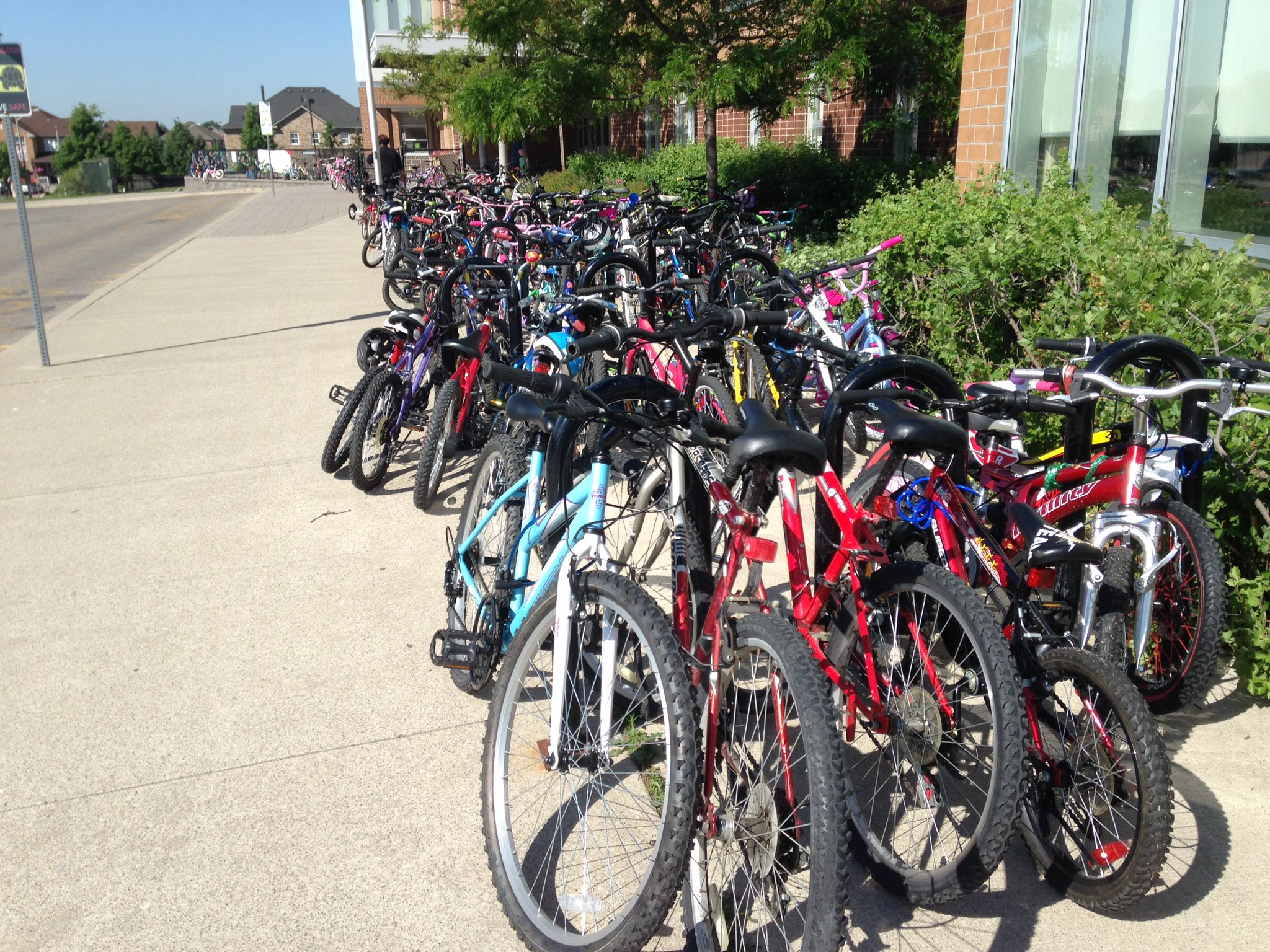 Bikes, bikes & more bikes! 135 on day 5 of #BikeToSchoolWeek.  Keep riding next week!! @PeelSchools https://t.co/ica3JcA2yF