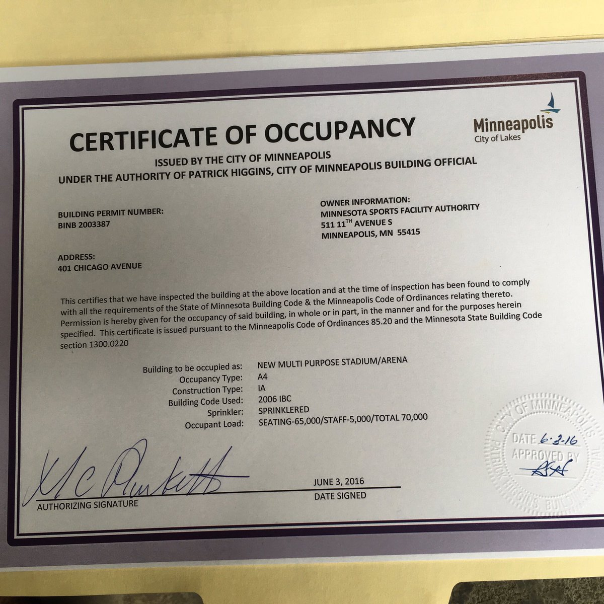 us bank stadium on twitter quotcertificate of occupancy