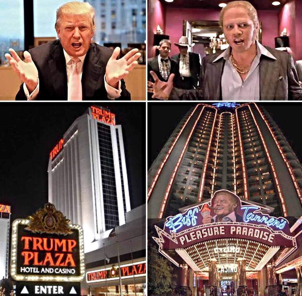 "Otto English on Twitter: ""Biff Tower in #Backtothefuture2 is obviously  Trump Tower and both Biff and Donald are bullying lucky fools #ITV… """