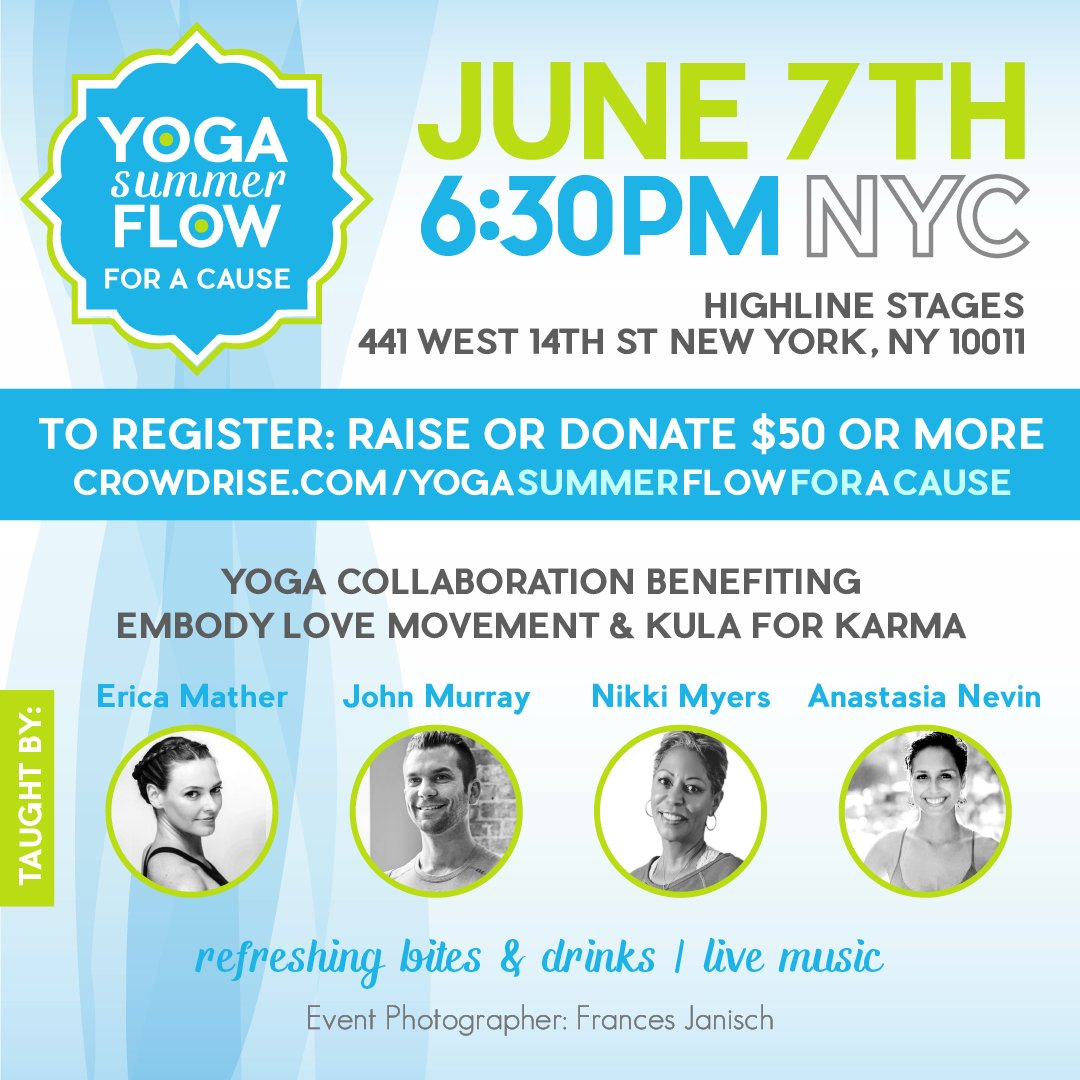 This Tues nite June 7 in NYC! #Yoga collaboration event benefiting @embodylove & @kula4karma https://t.co/etPdgE6Zwe https://t.co/LNJqwwOsFN