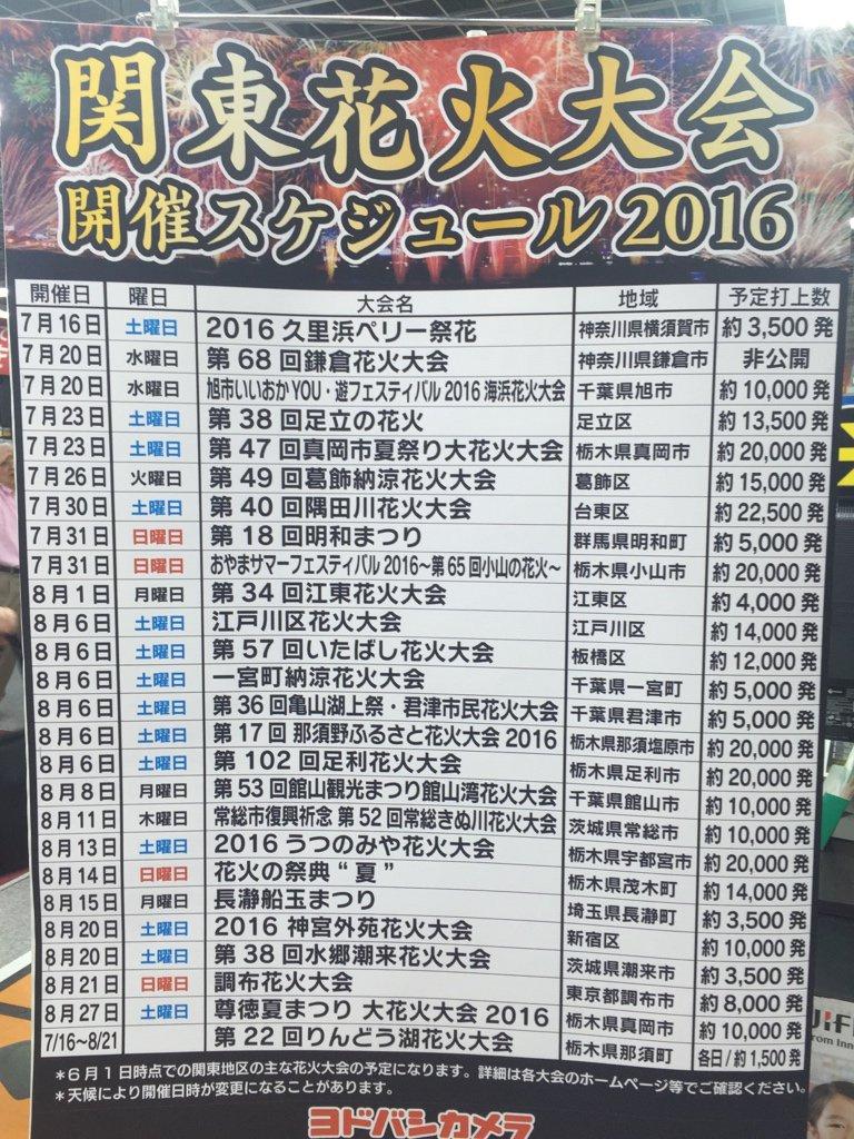 関東花火大会開催スケジュール 2016 https://t.co/RJk0adWlcn