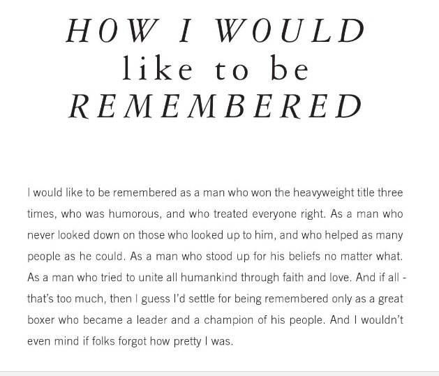 "Read what Muhammad Ali wrote in his memoir on the page titled ""HOW I WOULD like to be REMEMBERED"" https://t.co/VT2ivwUoLc"