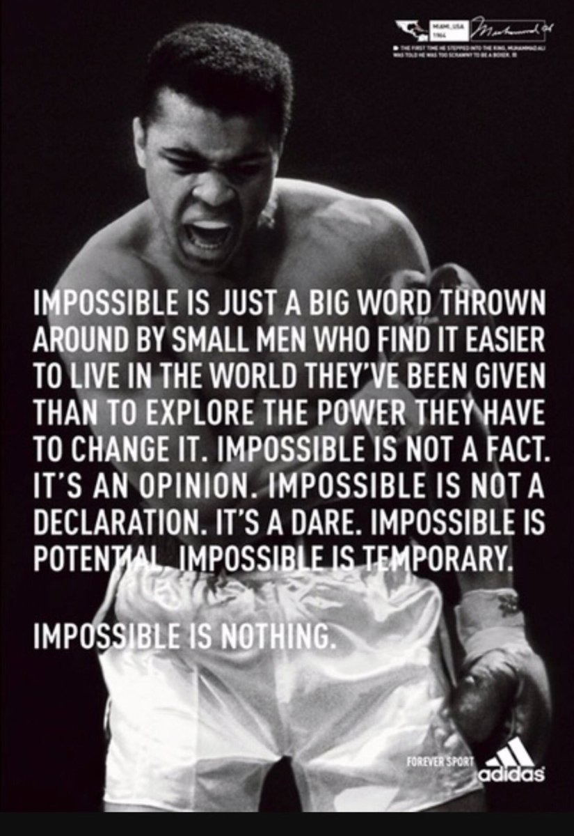 "Impossible Is Nothing Quote S3 On Twitter ""alibomaye Thegreatest Impossible Is Nothing"