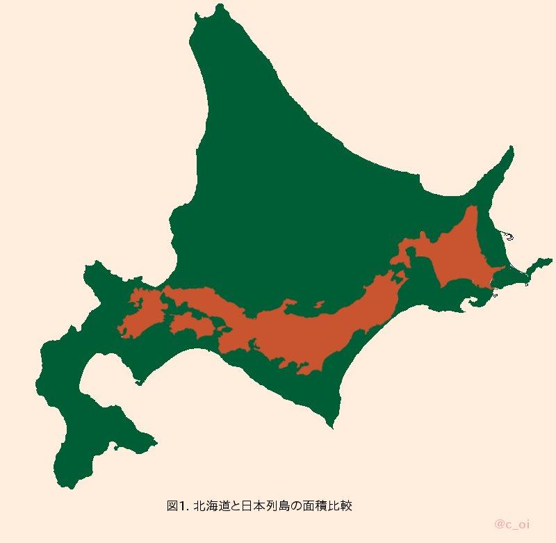 北海道の大きさを誇張する図を作りました。参考にしてください。 https://t.co/HQuI4csOU9