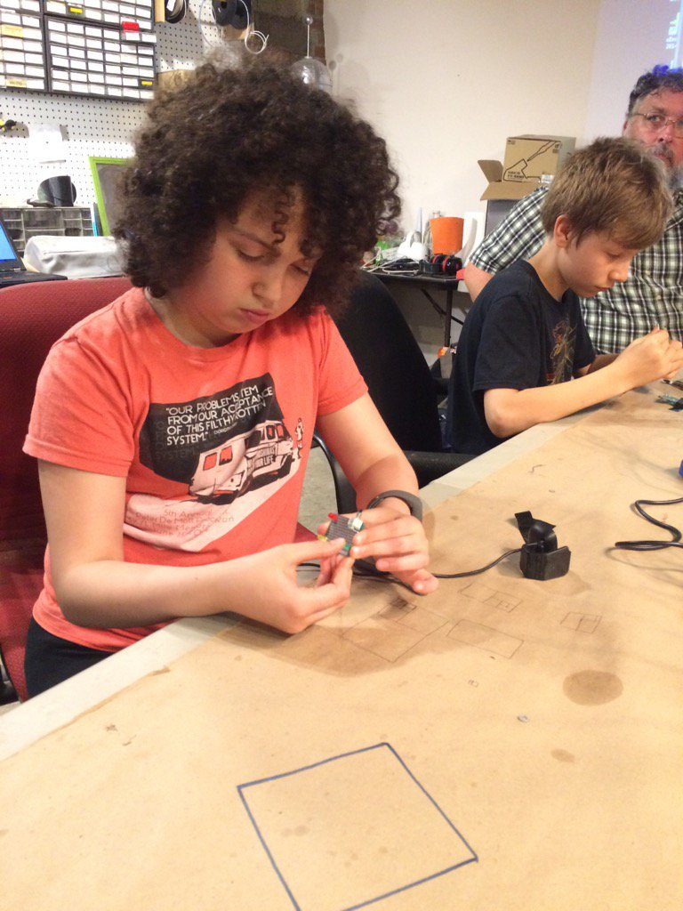 Fun time soldering w Southside Community Center Hackers. Young people doing great work #twithaca