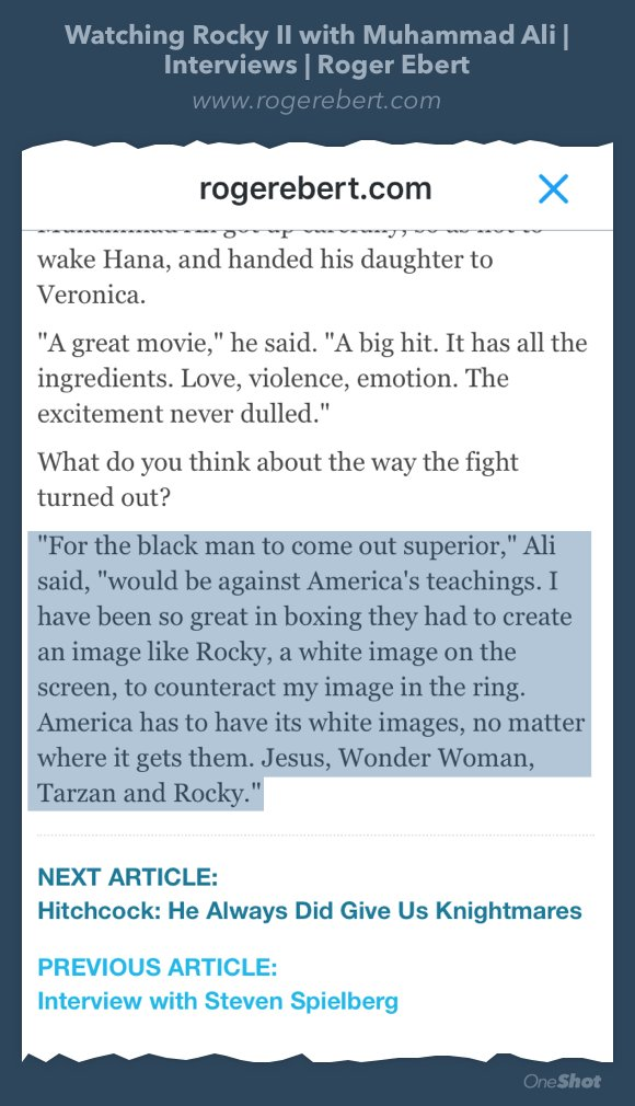 Somehow never read Ebert's piece on watching ROCKY II with Ali until now. Fantastic stuff:  https://t.co/vXrR5MsPgc https://t.co/jULAEGhMFf