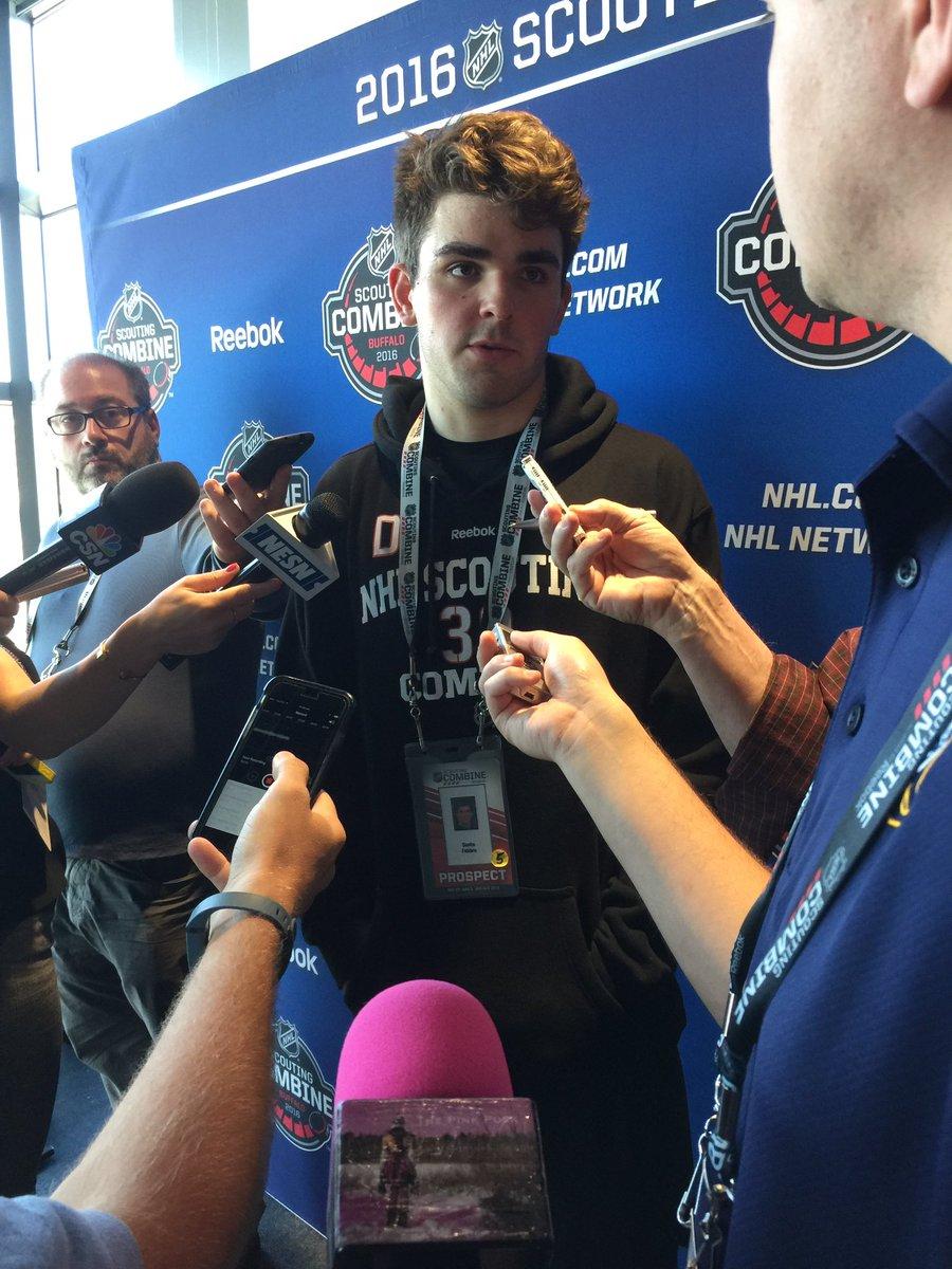 Incoming .@TerrierHockey freshman Dante Fabbro talking #NCAA & #NHLCombine https://t.co/zl55ZQPWaR