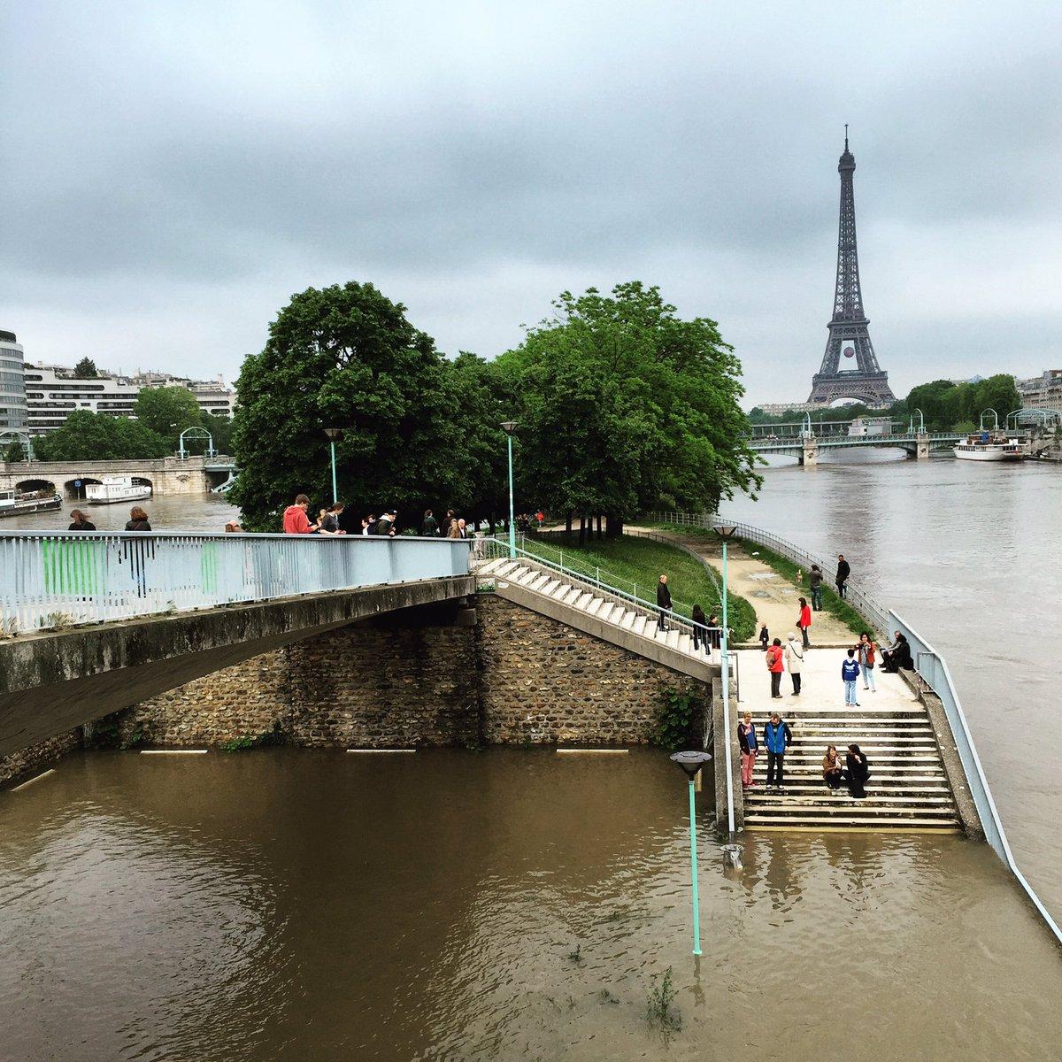 #CrueParis La Seine redescend doucement, les Parisiens de sortie sur l'île aux Cygnes #parisjetaime