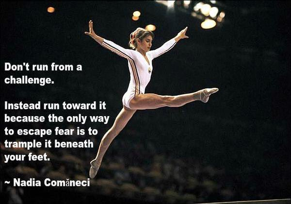 Don't run from a challenge ~ Nadia Comineci via @VeganYogaDude   #inspiration from @nadiacomaneci10 https://t.co/E7xJt42dwZ