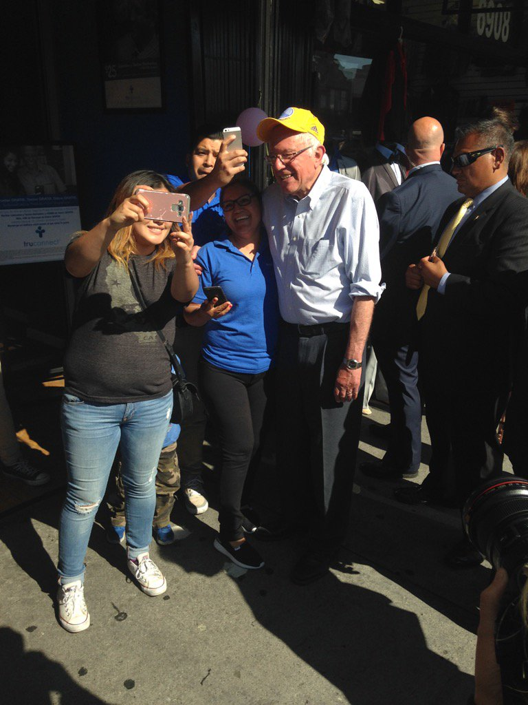 """.@BernieSanders walking streets of Huntington Park. """"There's an election on Tuesday. We need your help!"""" https://t.co/WRfOiRBHUy"""