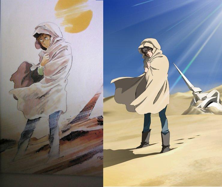 砂漠で苦労する主人公は定番ですね。OVA版のepisode 4「重力の井戸の底で」のティザービジュアルは、ファーストガンダムのアムロが砂漠に佇むイラストのオマージュでした。(広報いぬ)#g_uc pic.twitter.com/uMBsC5ecYo