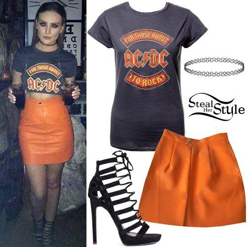 Perrie Edwards: AC/DC T-Shirt, Orange Skirt https://t.co/bbs8MOL7yL https://t.co/42Ap8Rlgc1