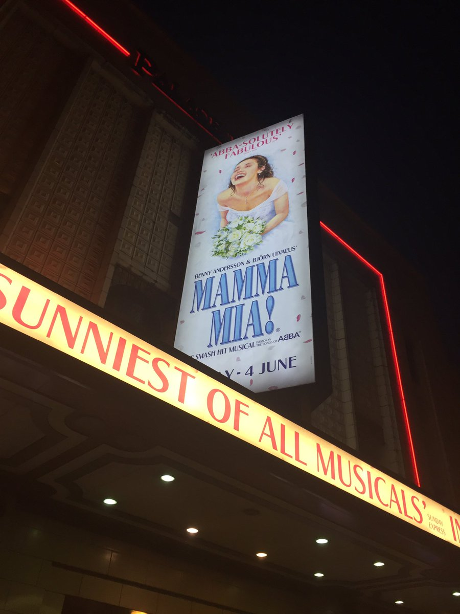 Really enjoyed @MammaMiaMusical last night in @PalaceTheatre was absolutely FANTASTIC!