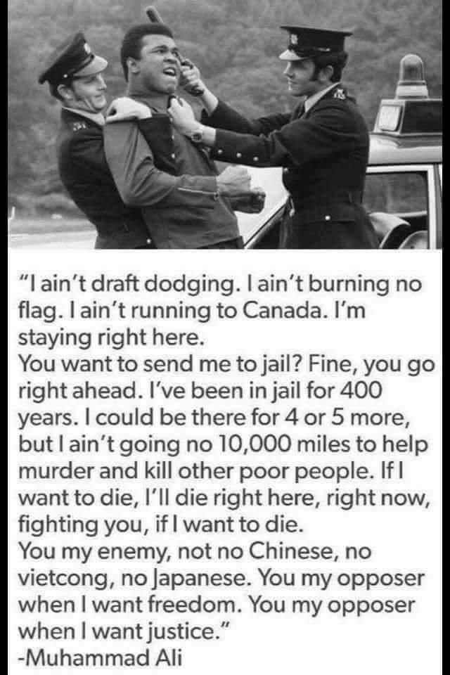 【アリ語録】 俺を刑務所に入れるのもいいだろう、俺は既に400年も刑務所にいるんだから。ベトナムに行って人殺しの手伝いをするくらいなら、あと数年をムショで過ごそう。 俺の敵はおまえたちだ。中国人でもベトコンでも日本人でもなく。 https://t.co/8XtH5gwF4C