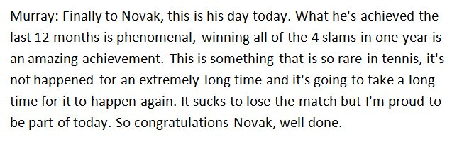 Murray's awesome words to Djokovic #RG16 https://t.co/NKzIBNdCVT