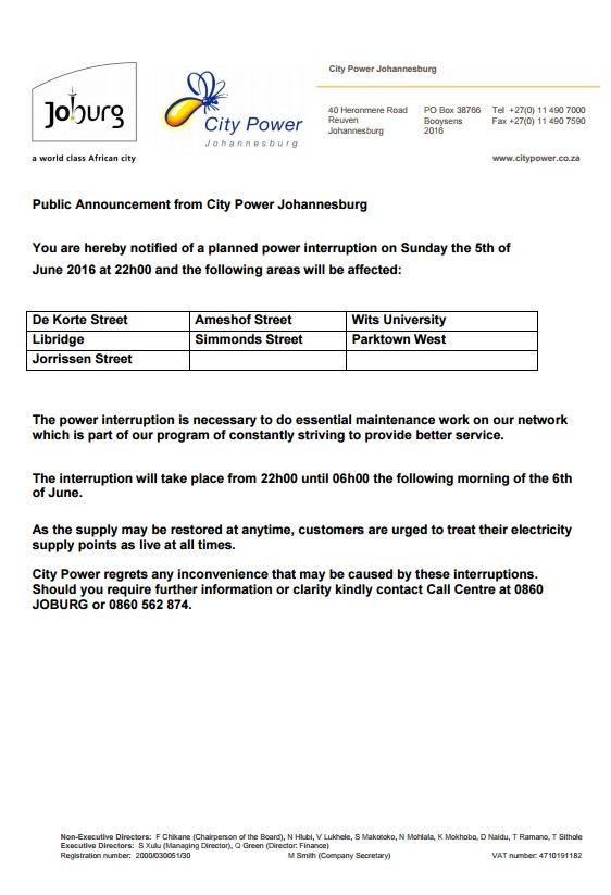 Dear @CityofJoburgZA residents you are hereby notified of a planned power outage on 5 June 2016 at 22:00 IM https://t.co/90E1IYYvF1