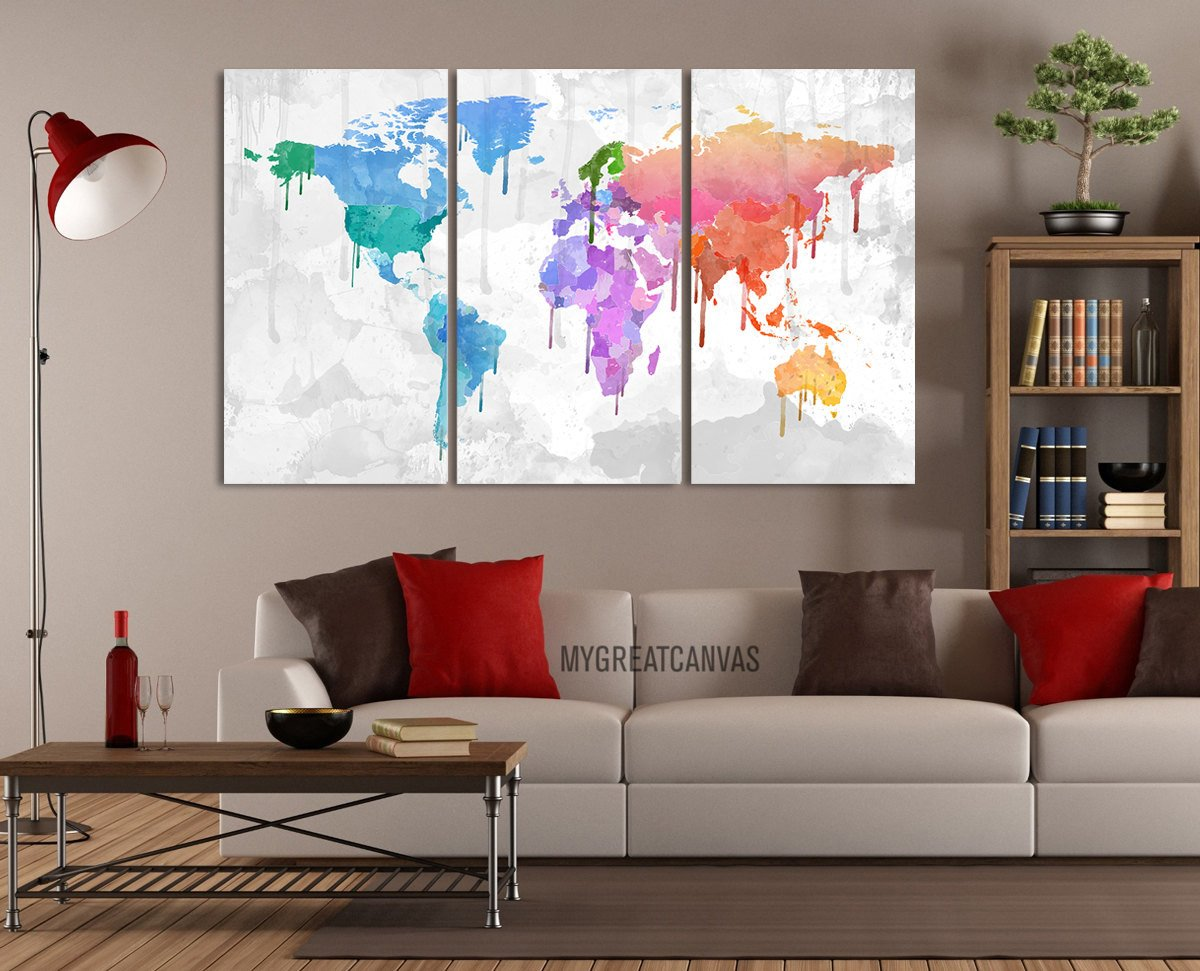 Extra large wall art wallartmap twitter large wall art canvas bright coloured colorful world map gumiabroncs Gallery