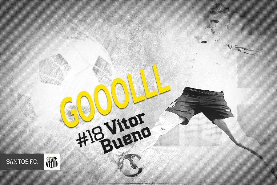 1T/10min.: E QUE GOLAÇO! Thiago Maia lança @vtrbueno que chapela o goleiro e abre o placar! #SANxBOT