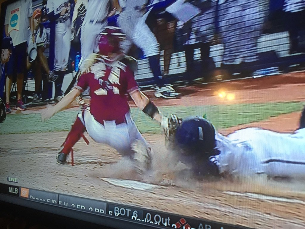 Throw was high, but the Lady #Noles C tagged the Auburn player in the face as she slid. Looks OUT to me https://t.co/z9NKK4Es9m