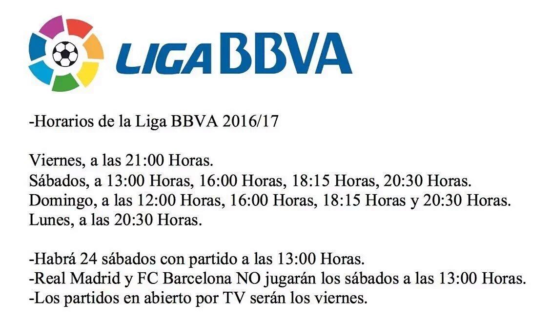 Horarios partidos de Liga y Copa + Televisión (1ª División) Temp ...